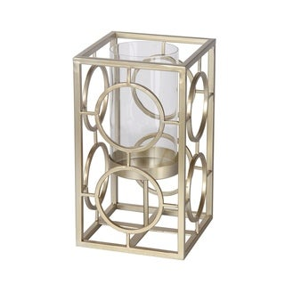 Privilege Silver Small Iron and Glass Candleholder