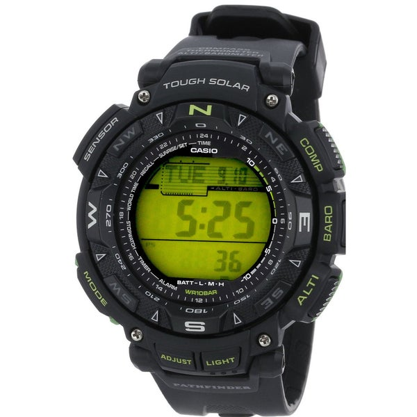 Casio PAG240-1B Pathfinder Triple Sensor Solar Digital Mens Watch (Black Olive)