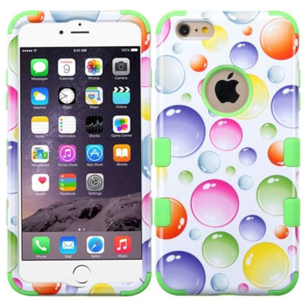 Insten Green/ Colorful Rainbow Bubbles Tuff Hard PC/ Silicone Dual Layer Hybrid Phone Case Cover For Apple iPhone 6 Plus