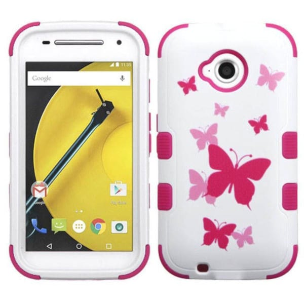 Insten Design Pattern Hard PC/ Silicone Dual Layer Hybrid Phone Case Cover For Motorola Moto E