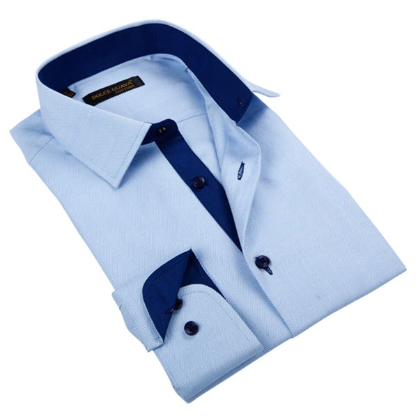 Men's Light Blue Patterned Button-down Shirt