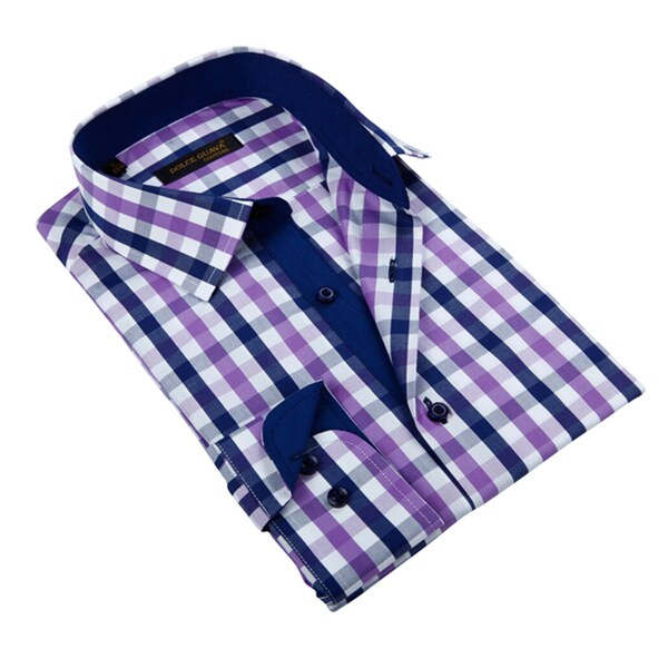 Men's Purple Patterned Button-down Shirt