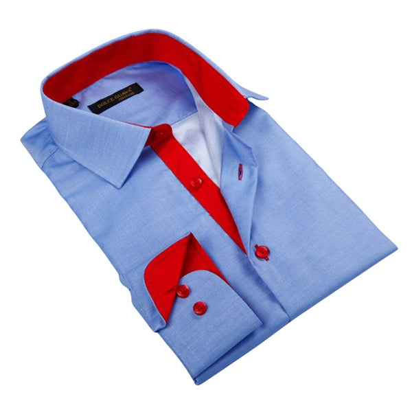 Men's Blue Patterned Red Trim Button-down Shirt