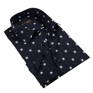 Men's Black Patterned Button-down Shirt