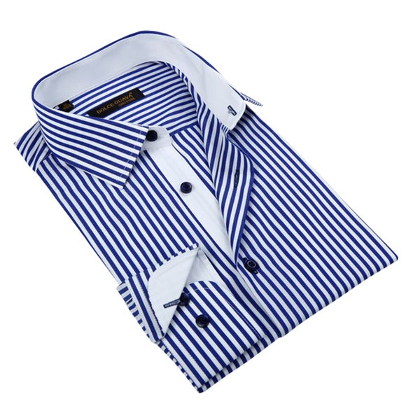 Men's Blue Striped Button-down Shirt