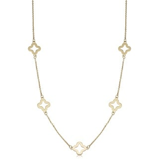 Fremada 14k Yellow Gold Stylish Flower Station Necklace (18 or 26 inches)