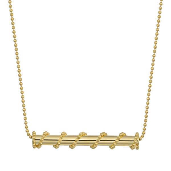 Fremada 14k Yellow Gold Fancy Tube on Bead Chain Necklace (18 inches)