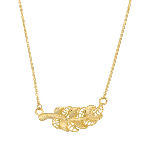 Fremada 14k Yellow Gold High Polish Feather Necklace (17 inches)
