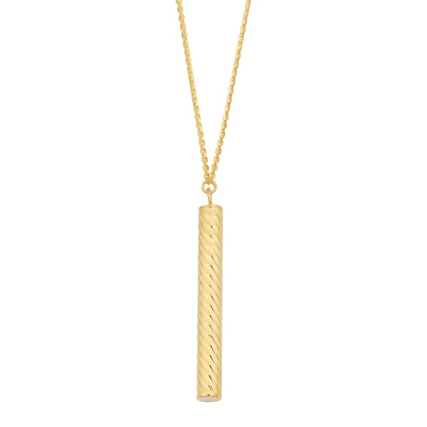 Fremada 14k Yellow Gold Tube Pendant on Cable Chain Necklace (17 inches)