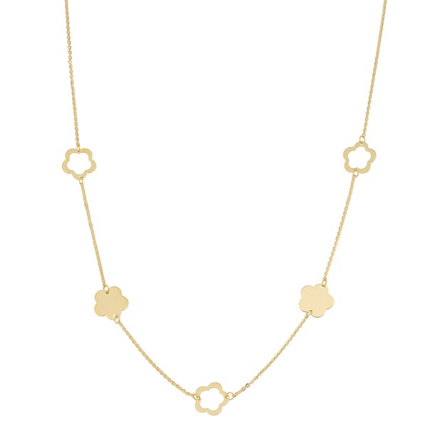 Fremada 14k Yellow Gold Alternate Flower Station Necklace (18 inches)