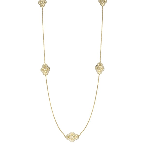 Fremada 14k Yellow Gold Fashionable Filigree Station Necklace (36 inches)