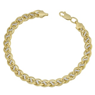 Fremada 14k Two-tone Gold Fancy Link Bracelet (7.5 inches)