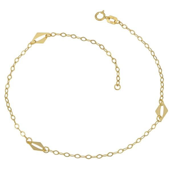 Fremada 10k Yellow Gold Diamond Shape Station Anklet (10 inches)