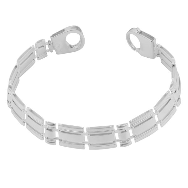Argento Italia Sterling Silver 10-mm Italian Fancy Rail Link Bracelet (7.75 inches)