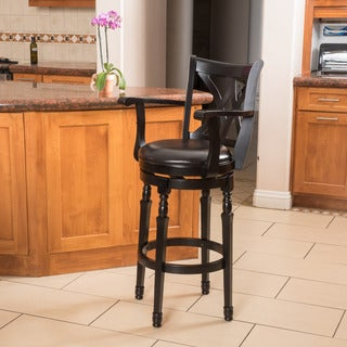 Christopher Knight Home Eclipse Black Bonded Leather Armed Swivel Barstool
