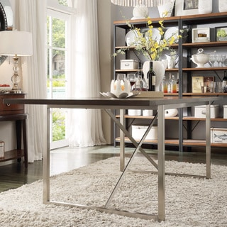 TRIBECCA HOME Ridgefield Industrial Weathered Top Rectangle Dining Table