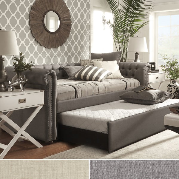 TRIBECCA HOME Knightsbridge Tufted Scroll Arm Chesterfield Daybed with Trundle