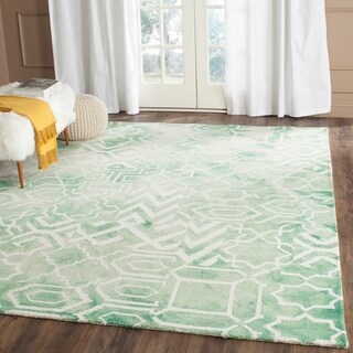 Safavieh Handmade Dip Dye Watercolor Vintage Green/ Ivory Wool Rug (9' x 12')