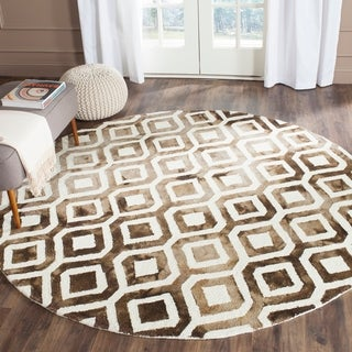 Safavieh Hand-Tufted Dip Dye Ivory/ Chocolate Wool Rug (7' Round)