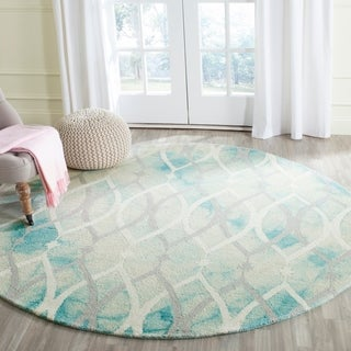 Safavieh Hand-Tufted Dip Dye Green/ Ivory Grey Wool Rug (7' Round)