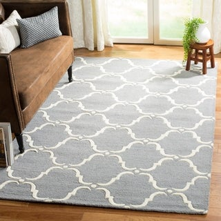 Safavieh Handmade Cambridge Dark Grey/ Ivory Wool Rug (9' x 12')