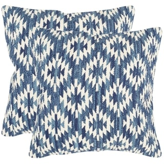 Safavieh Navajo Diamond Blue Throw Pillows (20-inches x 20-inches) (Set of 2)
