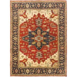 Ecarpetgallery Serapi Heritage Dark Copper Dark Navy Wool Medallion Corners Rug (8'10 x 11'9)