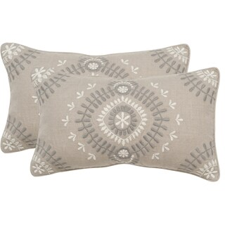 Safavieh Aiyana Grey Stone Throw Pillows (12-inches x 20-inches) (Set of 2)