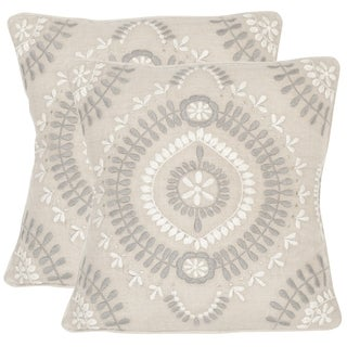 Safavieh Aiyana Grey Stone Throw Pillows (20-inches x 20-inches) (Set of 2)