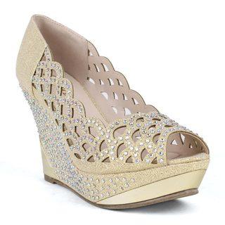 Celeste Women's kera-01 Peep-toe Glitter Mesh Rhinestone Women's Wedge Sandal