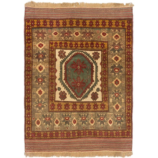 Ecarpetgallery Tajik Tribal Copper Grey Wool Medallion Rug (4'6 x 6'1)