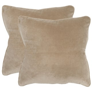 Safavieh Velvet Dream Beige Throw Pillows (20-inches x 20-inches) (Set of 2)