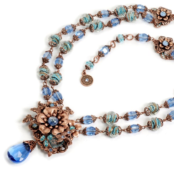 Sweet Romance Pewter 1950s Retro Blues and Copper Flower Necklace