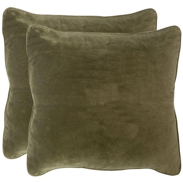 Safavieh Velvet Dream Vert Throw Pillows (20-inches x 20-inches) (Set of 2)
