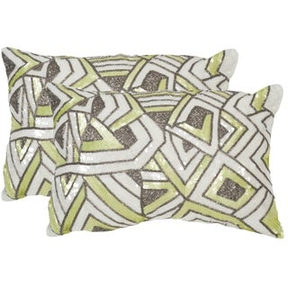 Safavieh Ricci Macaron Green Throw Pillows (12-inches x 18-inches) (Set of 2)