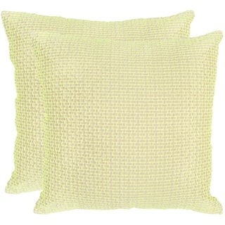 Safavieh Box Stitch Neon Citris Throw Pillows (20-inches x 20-inches) (Set of 2)