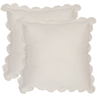 Safavieh Pinafore Antique White Throw Pillows (20-inches x 20-inches) (Set of 2)