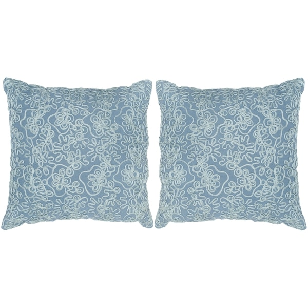 Safavieh Tape Swirl Wedgwood Blue Throw Pillows (20-inches x 20-inches) (Set of 2)