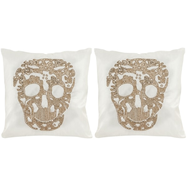 Safavieh Punk Skull Gold Throw Pillows (18-inches x 18-inches) (Set of 2)