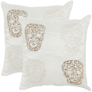 Safavieh Quatre Skull Gold Throw Pillows (18-inches x 18-inches) (Set of 2)