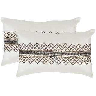 Safavieh Gossamer Metals Gunmetal Throw Pillows (12-inches x 20-inches) (Set of 2)