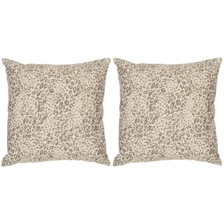 Safavieh Satin Leopard Earth Throw Pillows (20-inches x 20-inches) (Set of 2)