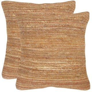 Safavieh Eloise Creamy Cocoa Throw Pillows (20-inches x 20-inches) (Set of 2)