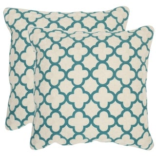 Safavieh Sandre Teal Throw Pillows (20-inches x 20-inches) (Set of 2)