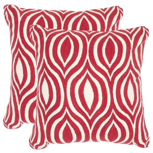 Safavieh Metis Red Throw Pillows (20-inches x 20-inches) (Set of 2)