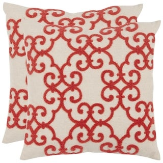 Safavieh Sonya Pink / Red Throw Pillows (18-inches x 18-inches) (Set of 2)