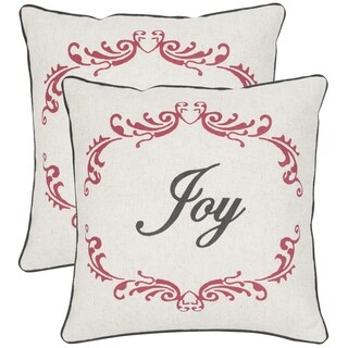 Safavieh Joy Beige/Red Throw Pillows (18-inches x 18-inches) (Set of 2)