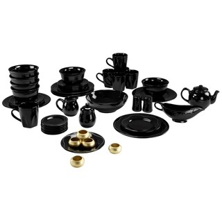 Vivo Black Beaded 45-piece Dinner Set