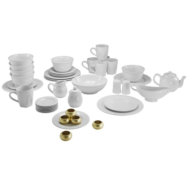 Vivo White Beaded 45-piece Dinner Set