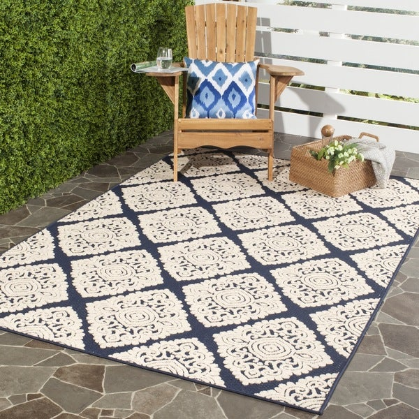 Safavieh Cottage Navy/ Cream Rug (4' x 6')